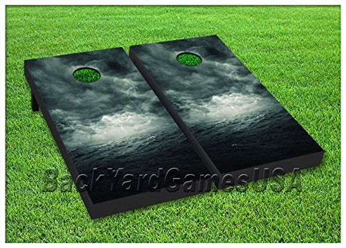 VINYL WRAPS Cornhole Boards DECALS Thunder Bolts Stormy Lake Game Sticker92 by BackYardGames
