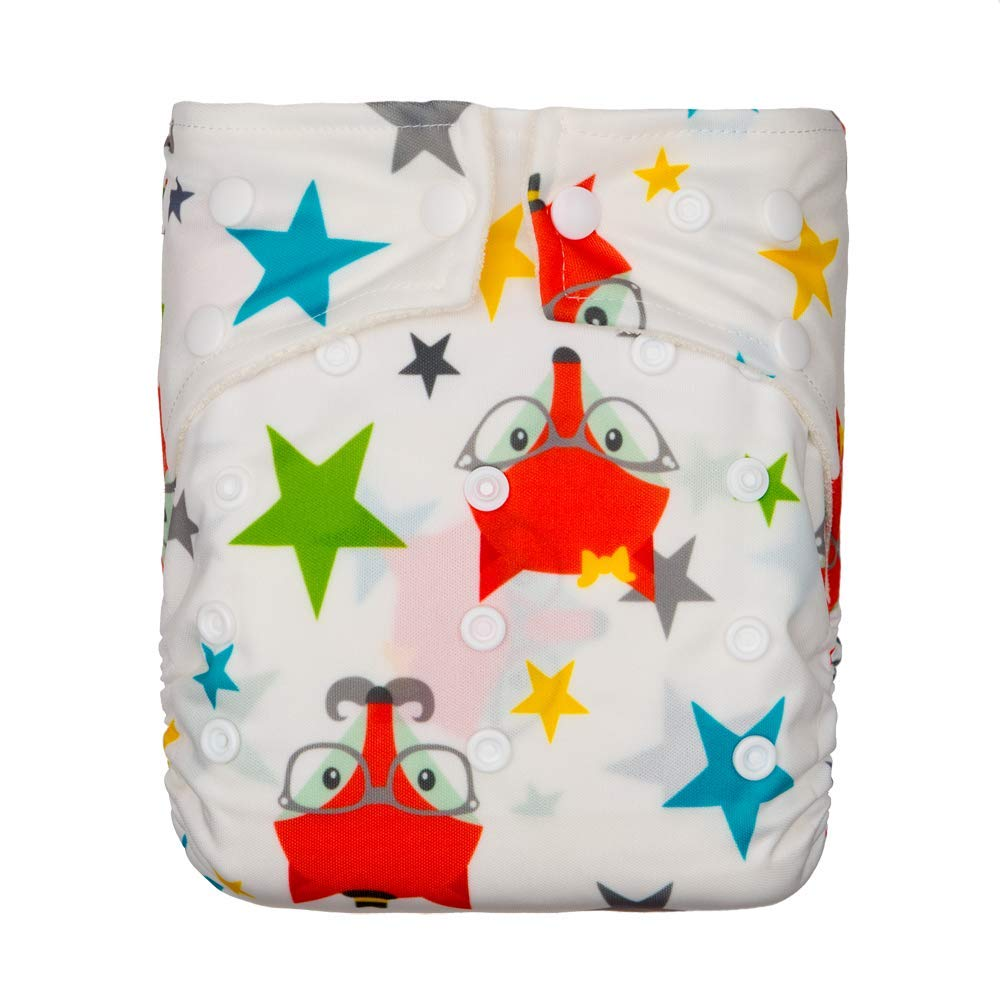 A Set of 12 KaWaii Baby Bamboo Cloth Diapers with 12 Bamboo Inserts Newborn Thru Toddler Gift