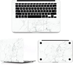 HRH 3 in 1 Marble White Full Body Cover Vinyl Decal Laptop Stickers Palmrest PalmGuard for MacBook Air 11 inch (Models: A1370 and A1465)
