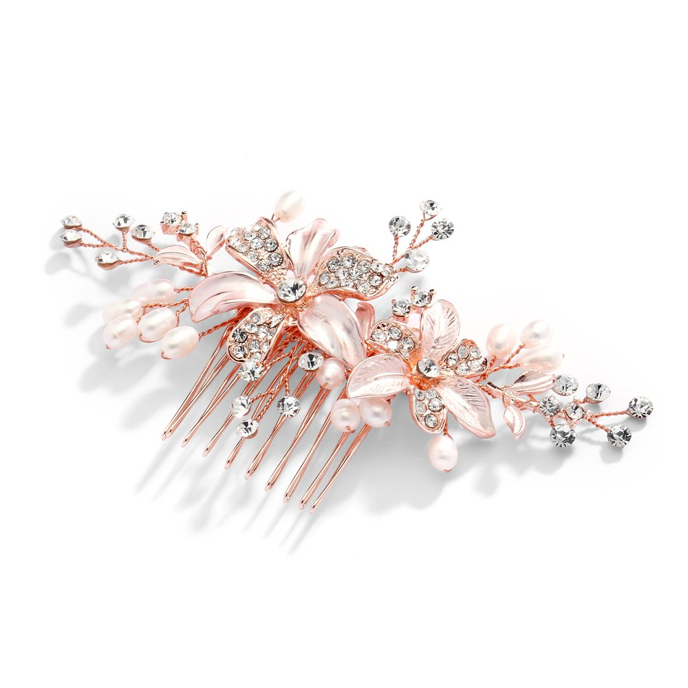 Mariell Rose Gold Bridal Comb with Freshwater Pearl, Hand-Painted Enamel Leaves and Austrian Crystals by Mariell