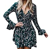 Overmal Womens V-Neck Mini Long Sleeve Print Bandage Beach Dress