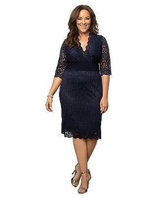 680c72116c1bb Kiyonna Women's Plus Size Lumiere Lace Dress at Amazon Women's ...
