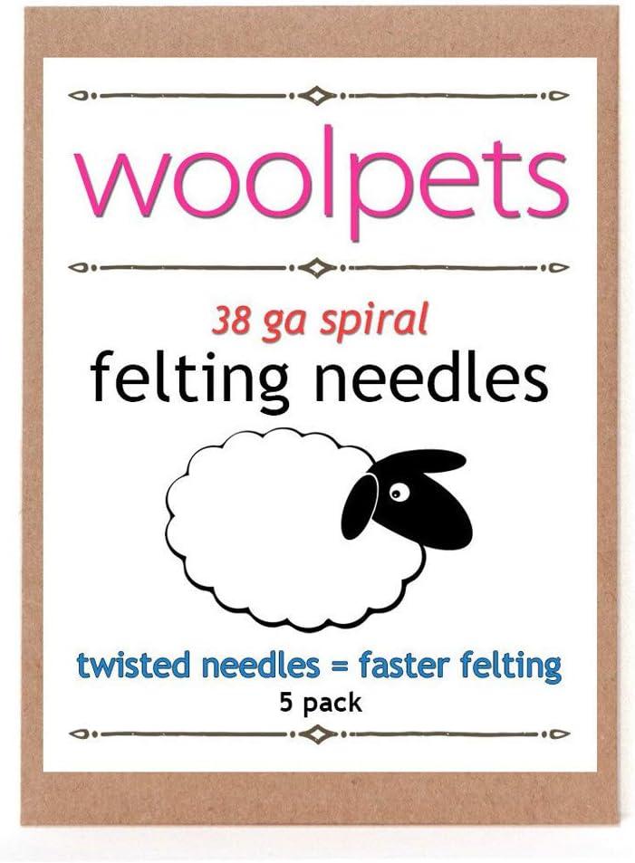 Woolpets 5 Pack Felting Needles 38 Gauge Spiral Twisted Needles 2004