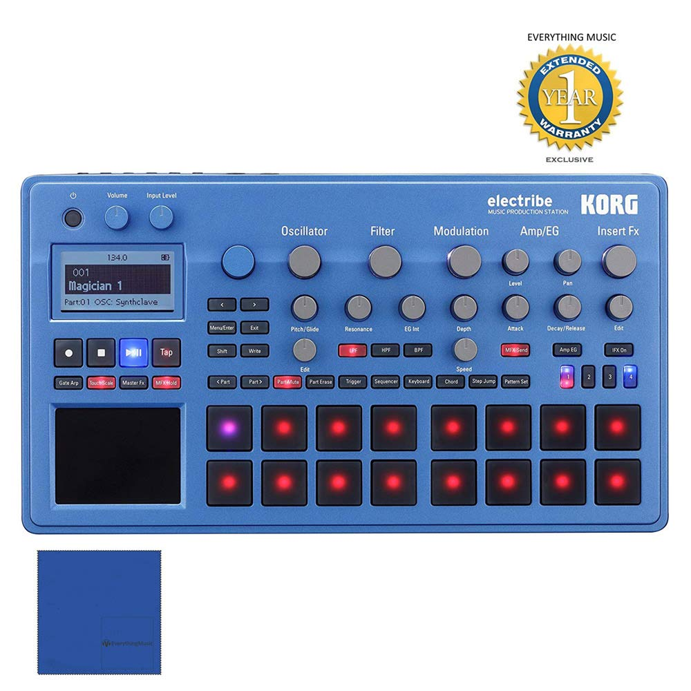 Korg Electribe Music Production Station Blue with V2.0 Software with 1 Year Free Extended WarrantyandMicrofiber