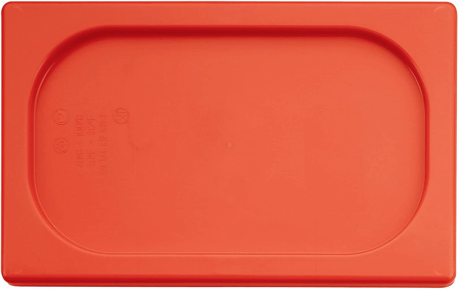 Paderno World Cuisine 7 inches by 4 3/8 inches Red Polypropylene Hotel Food Pan Lid - 1/9
