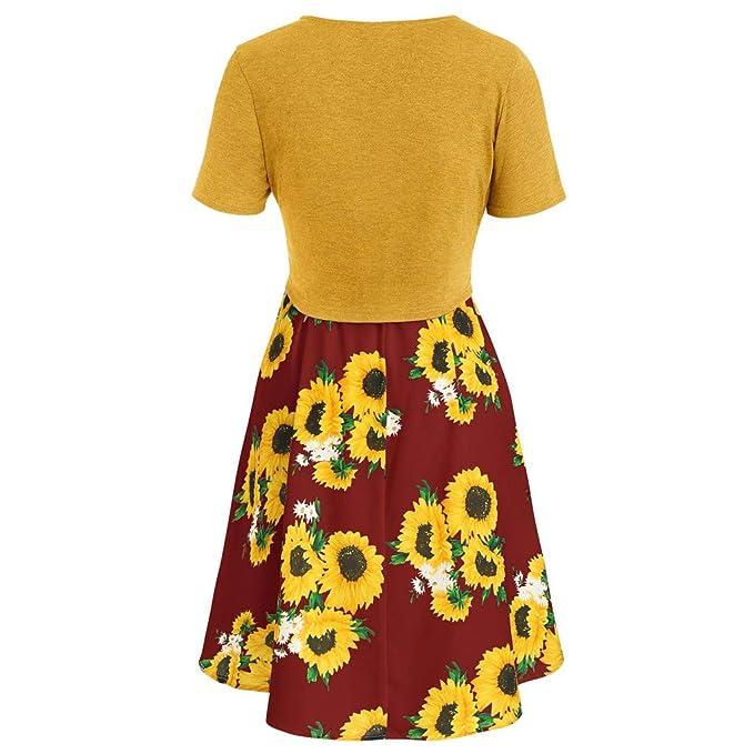 ce3f15c687 Amazon.com  MURTIAL Women s Short Sleeve Bow Knot Bandage Top Sunflower  Print Mini Dress Suits T-Shirt  Clothing