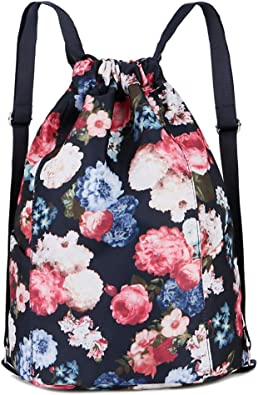 String Bag Foldable Sackpack For Gym Sport Traveling Yoga School Drawstring Backpack With Abstract Windmill Tower Print