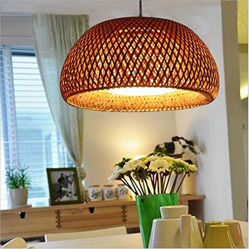 Ratán Lámpara Lámpara creativa de bambú tejidas a mano paisaje pastoral llevó D40cm araña