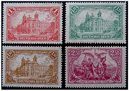 (RARE COMPLETE WW1 ERA GERMAN EMPIRE SERIES w BERLIN CENTRAL POST OFFICE, PACT AMONG GERMAN STATES (1, 1.25, 1.50 and 2.50 MARKS) ALL UNCANCELLED!)