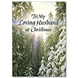 For My Loving Husband Deluxe Religious Christmas Card with Embossed Envelope