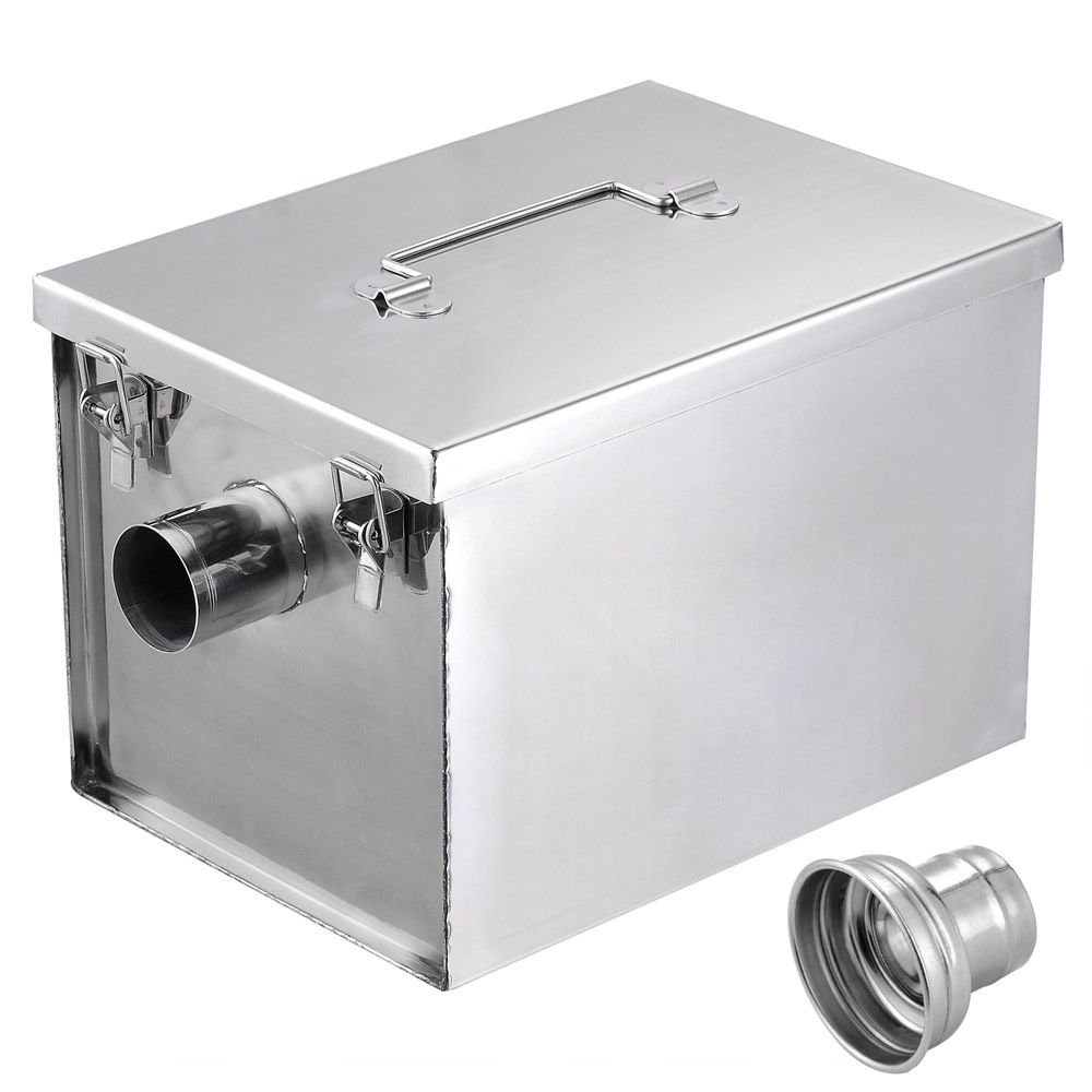 GHP 5-Gallons/Minute Stainless Steel 8-Lbs Grease Trap with Waste Filter Basket