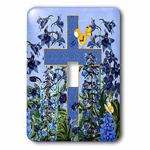 - 3dRose LSP_266787_1 Larkspur Garden with Yellow Canary and Christian Cross Toggle Switch, Multicolor