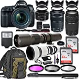 Canon EOS 5D Mark IV DSLR Camera w/24-105mm STM Lens Bundle + Canon EF 75-300mm III Lens, Canon 50mm f/1.8, 500mm Lens & 650-1300mm Lens + Canon Backpack + 64GB Memory + Monopod + Professional Bundle