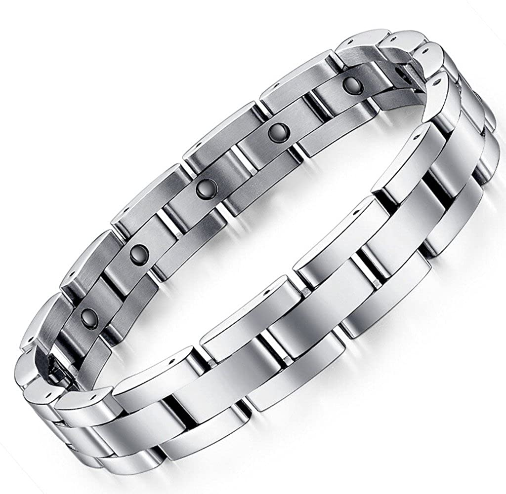 Feraco Men Sleek Magnetic Therapy Bracelet Pain Relief For Arthritis with Link Removal Tool,9 inch AJ151068-B