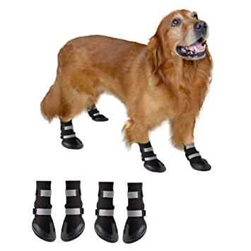 f6a8a0118f3 BESAZW Dog Boots Paw Protectors Antiskid Durable Soft Warm Pet Shoes for  Small to Large Dogs 4 Pcs Set