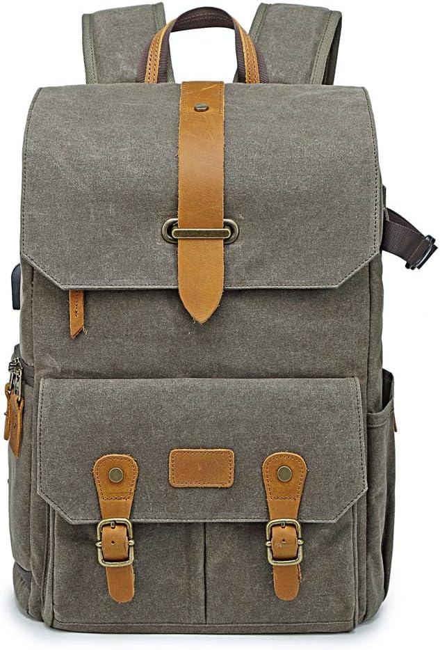 SYF/&DJN Waterproof Canvas Camera Bag Large Capacity Outdoor Travel Shoulder Backpack for SLR Camera//Lens//Tripod//15.6 Laptop
