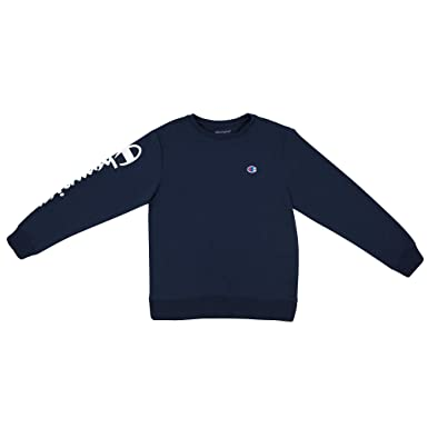 cbd3bb880137 Champion Boys Heritage Long Sleeve Script Logo Tee Shirt Kids (Small, Navy  French Terry
