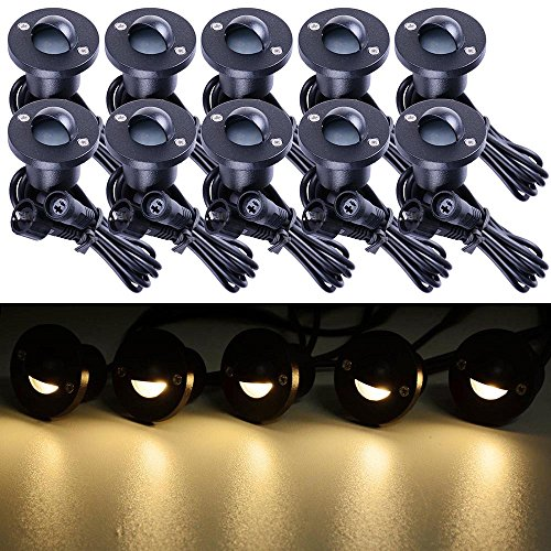 Yescom 10pcs LED Deck Light Kit Waterproof Outdoor Step Stairs Yard Decor Warm White Lamp w/ Adaptor (Lights Deck Step)