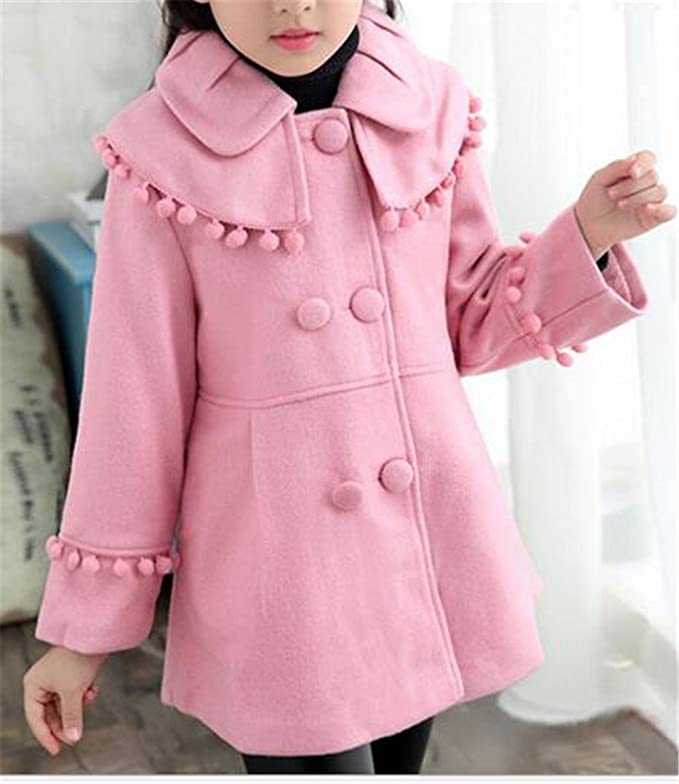 Papijam Girls Shawl Pompom Wool-Blend Double-Breasted Pea Coat Jackets Pink 7//6T