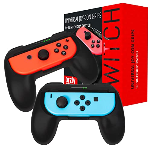 ORZLY® Grips compatible with Nintendo Switch Joy-Cons for Extra Comfort - TWIN PACK (2x BLACK) Universal Sided Grip Attachments for use with Nintendo Switch Joy-Cons