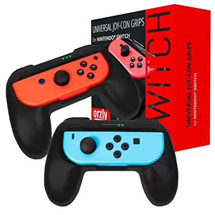 Orzly Grips Compatible with Nintendo Switch Joy-Cons for Extra Comfort -  Twin Pack (2X Black) Universal Sided Grip Attachments for use with Nintendo
