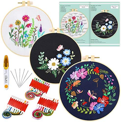 Caydo 3 Sets Embroidery Starter KitPattern and Instructions Cross Stitch Kit Include 3 Embroidery ClothesFloral Pattern 3 Plastic Embroidery Hoops Color Threads and Tools