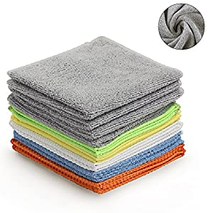 Multi-Function Microfiber Cleaning Cloths - 12Pack | Absorbent for Home/Kitchen/Car Glass/Disk Screen/Tablets |, 12x12 Inch.