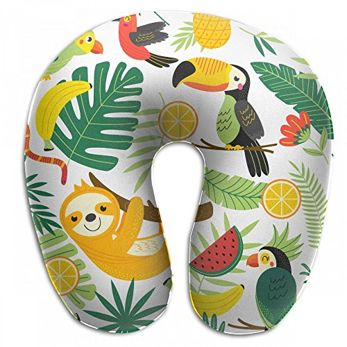 Raglan Carnegie Tropical Animals Sloth Pineapple Neck Head Support Travel Rest U Shaped Pillow for Airplane Train Car Bus Office by Raglan Carnegie