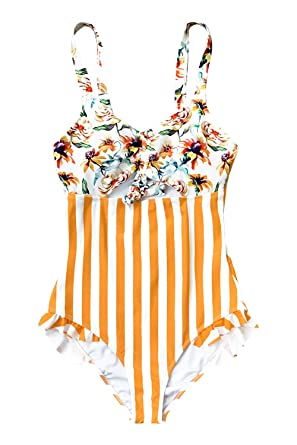 b1851b76f2 CUPSHE Women's Orange Floral Stripe Ruched Bust One Piece Swimsuit Small
