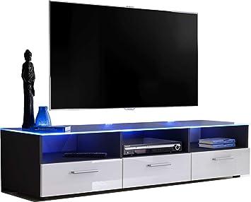 ExtremeFurniture T35 Mueble para TV, Carcasa en Negro Mate/Frente en Blanco Alto Brillo + LED Blanco: Amazon.es: Electrónica
