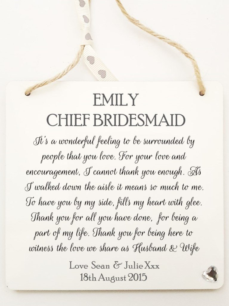 Personalised Maid Of Honour Chief Bridesmaid Plaque Wedding Thank You Gift Details Required Amazoncouk Kitchen Home