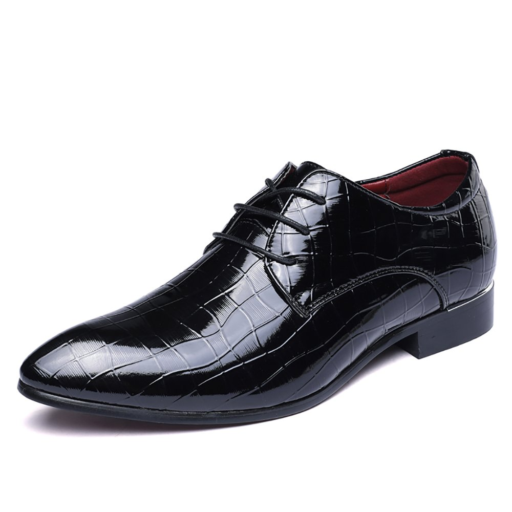 2018 Men's Fashionable Collection Patent Leather Oxfords Shoes Wedding Business Formal Party Shoes Glossy Eye Catching Design (8.5, Black)