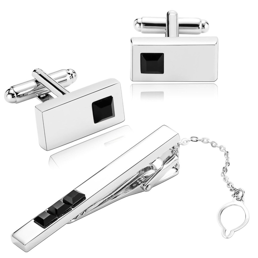 KnSam Men Stainless Steel Tie Clip Cufflinks Set Silver Rectangle Black Crystal Tie Bar Shirt Stud