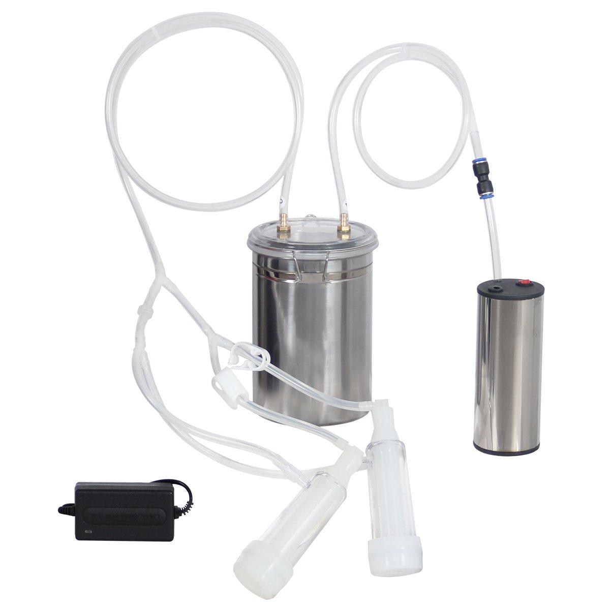 2L 0.4 Gal Goat Milker Electric Sheep Goat Milking Machine Stainless Steel Safe Food Grade Traden