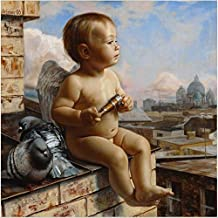 YEESAM ART New Release Paint by Number Kits for Adults Kids - Baby Boy Angel and Dove 16x20 inch Linen Canvas Without Wooden Frame