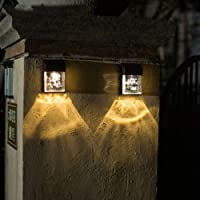 2 Pack Outdoor LED Solar Wall Light, Waterproof Warm White Decorative Lighting for Garden Villa Wall Door Lawn