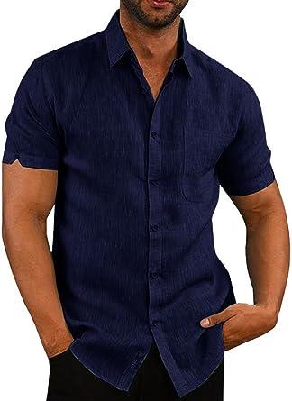 Mens Short Sleeve Botton Down Tops Lapel Plain Summer Blouses Shirts