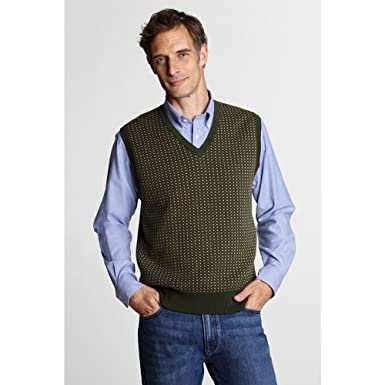 d318009dfa Lands  End Men s Regular Fine Gauge Supima Cotton Houndstooth Sweater Vest