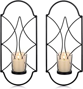Sziqiqi Metal Wall Sconce Candle Holder Decor Set of 2 Wall Mounted Candle Sconces Holders with Glass, Candle Sconces Holder for Wall, Home Wall Art for Living Room Fireplace Yard Pathway, Black