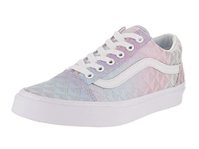 b242e41985 Vans Unisex Old Skool (Rainbow Geo) Rainbow Geo True White Skate Shoe 5
