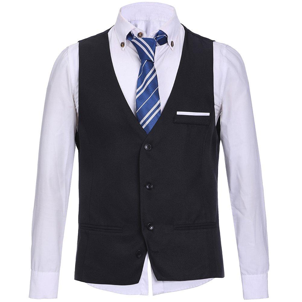 HEQU Men's Business Suit Vest Slim Fit Formal Wedding Dress Suits Solid Button Down Vest Waistcoat Black_07 L