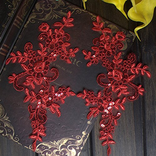 (2 Pcs Red with Sequins Flower Lace Patches for Wedding Dress DIY Clothing Flower Applique Collar Material)