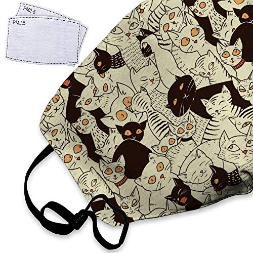 Cat Modern Big Eyed Kitties Retro Sweet Animal Dust Mask Reusable Washable Breathable Anti Pollution Mask with PM 2.5 Activated Carbon Filter Insert Flu Mask Face Safety Masks For Teens Kids ()