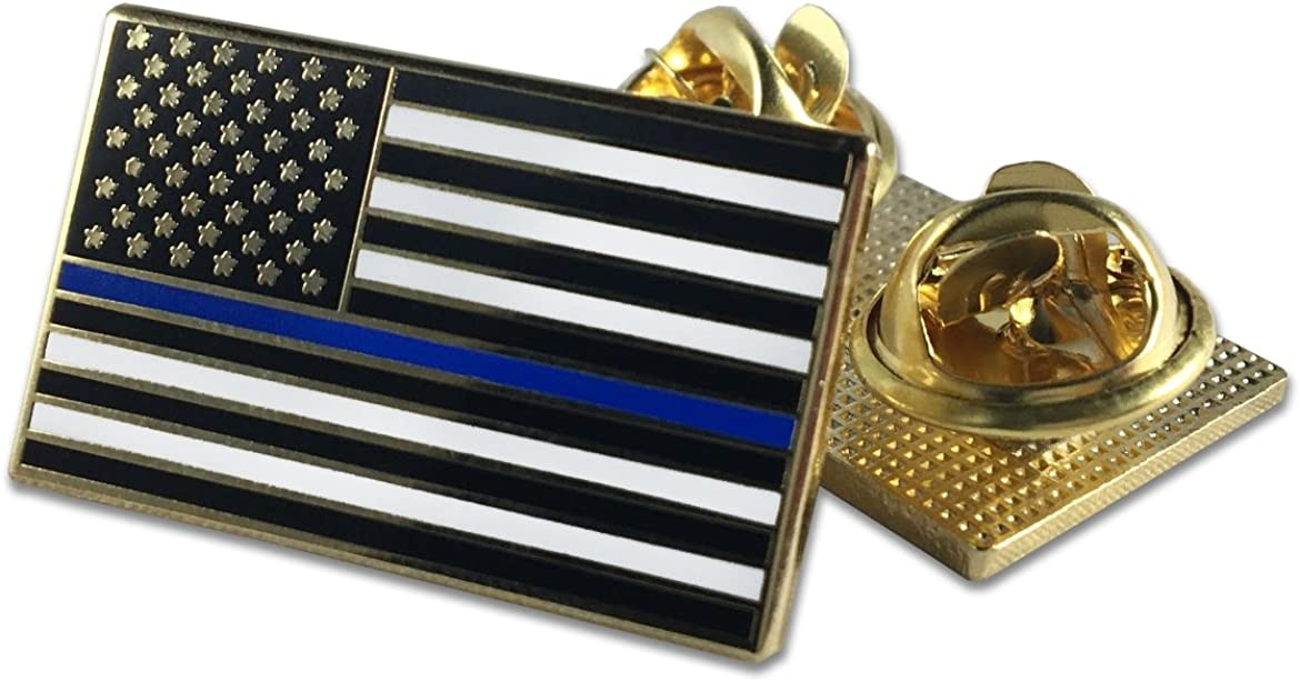 Classic Thin Blue Line American Flag Pin /· Double Clutch Backing