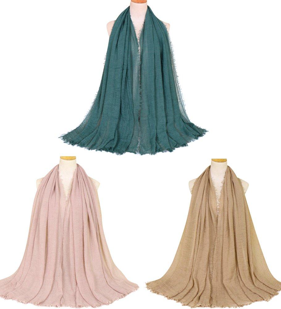 Ababalaya Women's 3PCS Muslim Soft Breathable Solid Pleated Fringe Trim Hijab 75×39 inch,Group 2(3pcs)