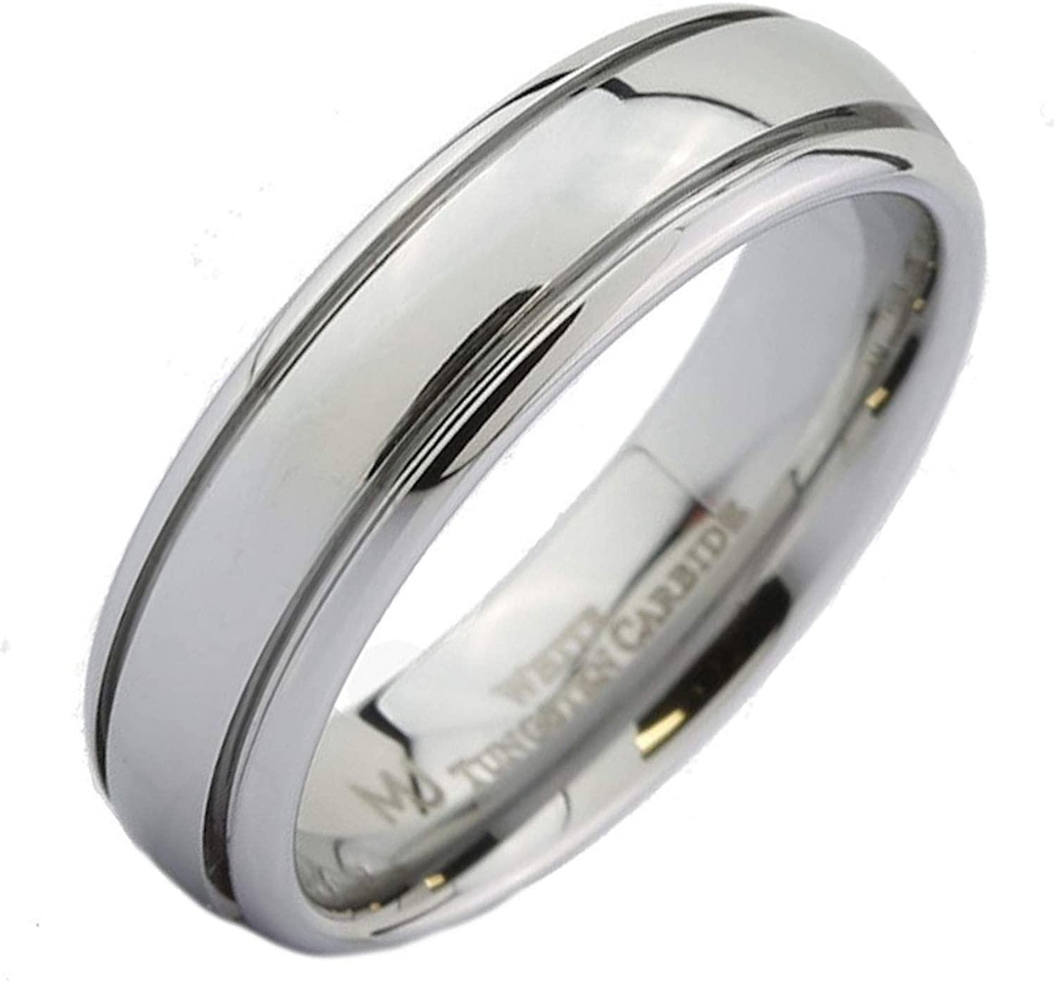 6mm Tungsten Grooved Gold Center Stripe Shiny Edge Women/'s Wedding Ring