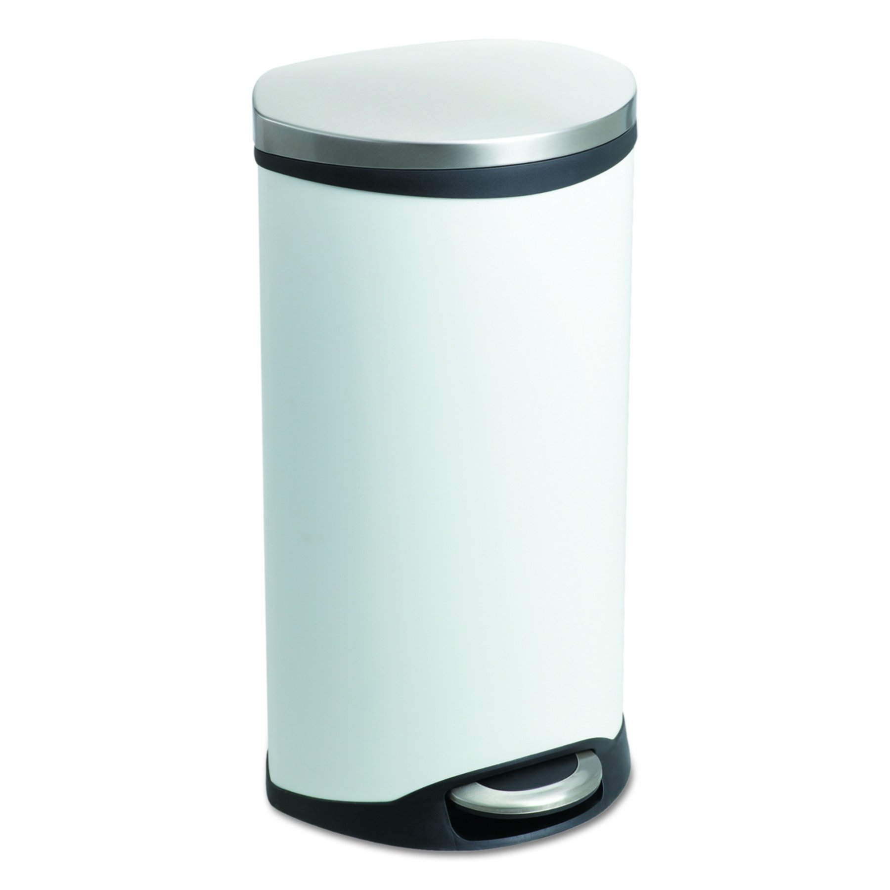 Safco Products 9902WH Ellipse Step-On Trash Can, 7 1/2-Gallon, White