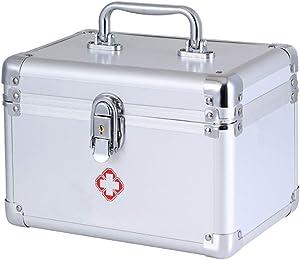 KDC Medicine Storage Box-Lock Medicine Cabinet-Compartments First Aid Box Medical Precription Storage Box 9.6 x 5.5 x 6.3 inches, Aluminum (Silver)