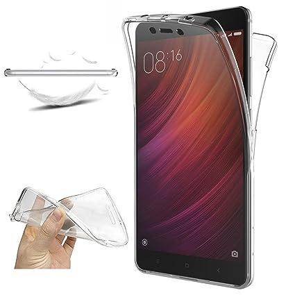 XCYYOO Funda para Samsung Galaxy Note 4 Silicona,Carcasas para Samsung Galaxy Note 4, [360 Grados Full Body] Transparente Suave Ultrafina Gel Silicona ...