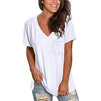 NSQTBA Womens Short Sleeve V Neck T Shirts Loose Casual Summer Tops Tees with Pocket